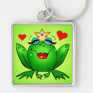 Frog Princess Square Keychain with Hearts