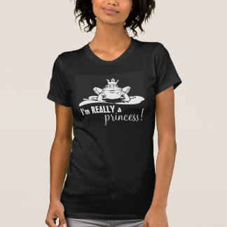 Frog Princess White on Black Tee Shirts