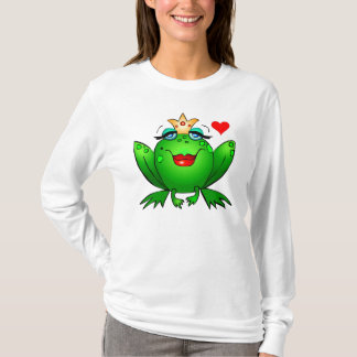 Frog Princess with Heart Charming Lady Frog T-Shirt