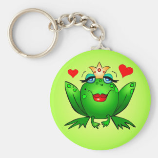 Frog Princess with Hearts Green Keychain