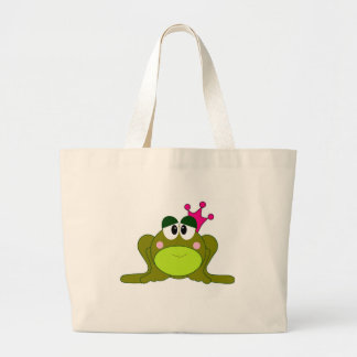Frog Princess With Pink Crown Cartoon Jumbo Tote Bag