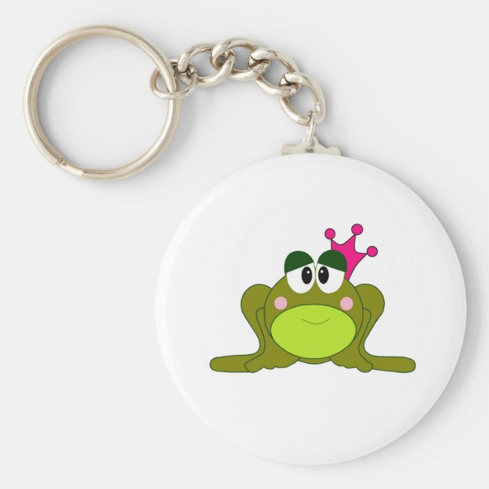 Frog Princess With Pink Crown Cartoon Keychain