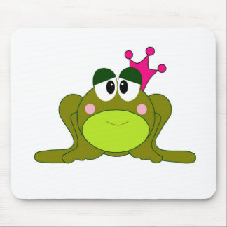 Frog Princess With Pink Crown Cartoon Mouse Pads