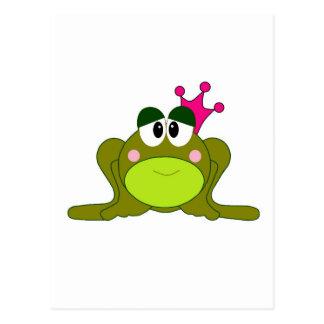 Frog Princess With Pink Crown Cartoon Postcard