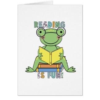 Frog Reading is Fun T-shirts and Gifts card