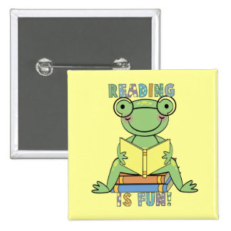 Frog - Reading is Fun Tshirts and Gifts Button
