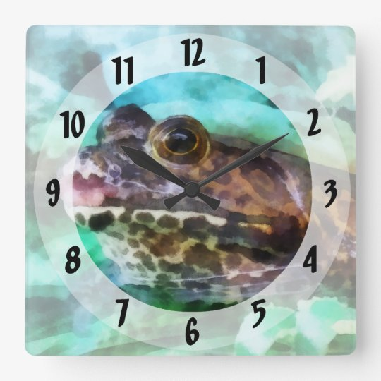 Frog Ready to be Kissed Square Wall Clock