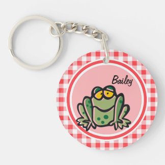 Frog; Red and White Gingham Acrylic Keychain