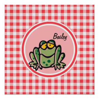 Frog; Red and White Gingham Posters