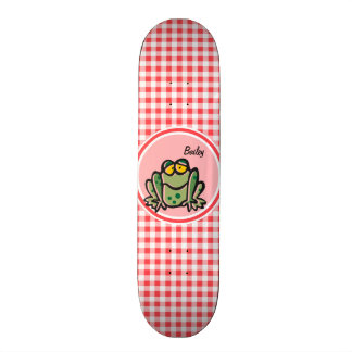 Frog; Red and White Gingham Skateboard