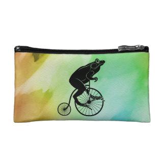 Frog Riding Bike Watercolor Makeup Bag