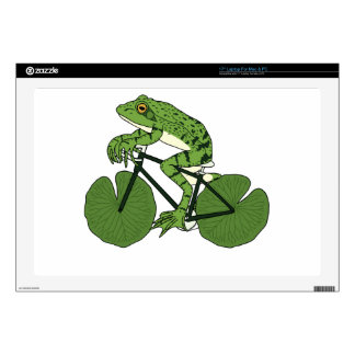 """Frog Riding Bike With Lily Pad Wheels Decal For 17"""" Laptop"""