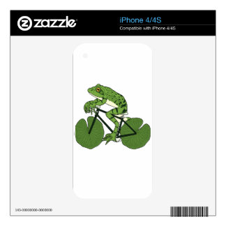 Frog Riding Bike With Lily Pad Wheels iPhone 4 Decal