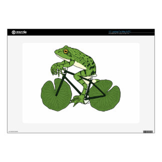 Frog Riding Bike With Lily Pad Wheels Laptop Skin
