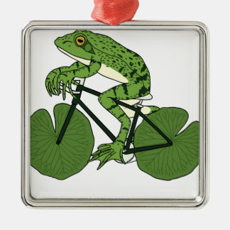 Frog Riding Bike With Lily Pad Wheels Metal Ornament