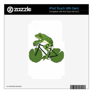 Frog Riding Bike With Lily Pad Wheels Skins For iPod Touch 4G
