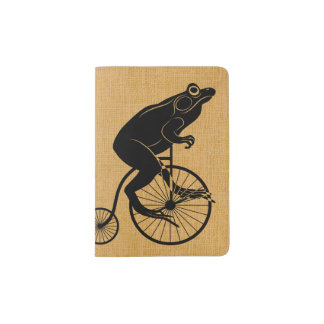 Frog Riding Penny Farthing Bicycle Passport Holder