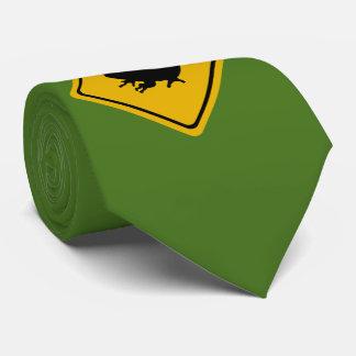 frog road sign tie