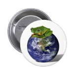 Frog Save The World Pinback Button