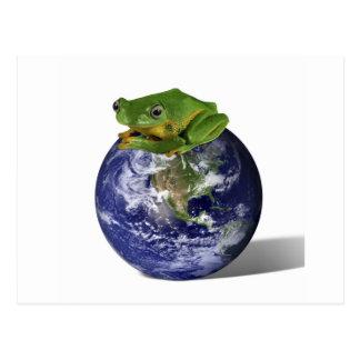 Frog Save The World Postcard