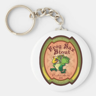 Frog Sax Stout Label Basic Round Button Keychain