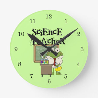 Frog Science Teacher Round Clocks