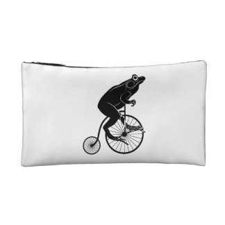 Frog Silhouette Riding Vintage Bike Makeup Bag