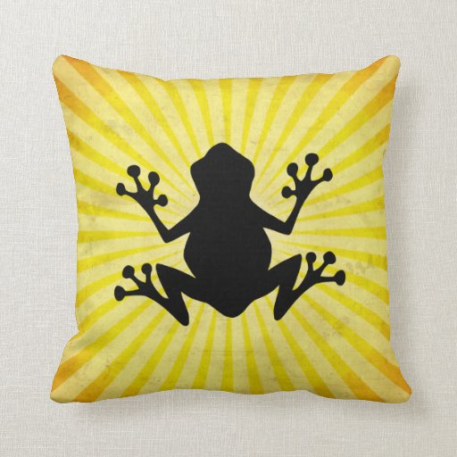 Frog Silhouette; yellow Pillow