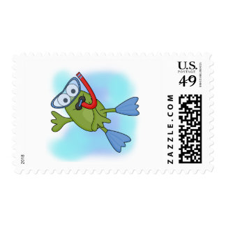 Frog Snorkeler T-shirts and Gifts Stamp