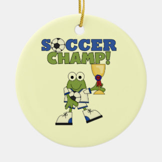 Frog Soccer Champ T-shirts and Gifts Double-Sided Ceramic Round Christmas Ornament