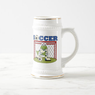 Frog Soccer Goalie T-shirts and Gifts Beer Stein