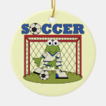 Frog Soccer Goalie T-shirts and Gifts Double-Sided Ceramic Round Christmas Ornament