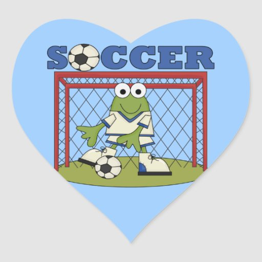 Frog Soccer Goalie T-shirts and Gifts Heart Sticker