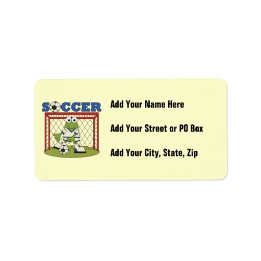 Frog Soccer Goalie T-shirts and Gifts Label