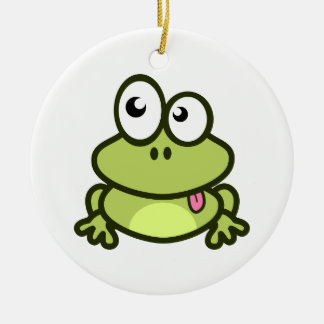Frog Sticking Out Its Tongue Ceramic Ornament