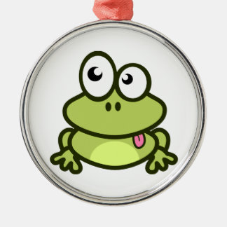 Frog Sticking Out Its Tongue Metal Ornament