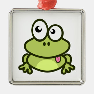 Frog Sticking Out Its Tongue Square Metal Christmas Ornament