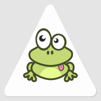 Frog Sticking Out Its Tongue Triangle Sticker