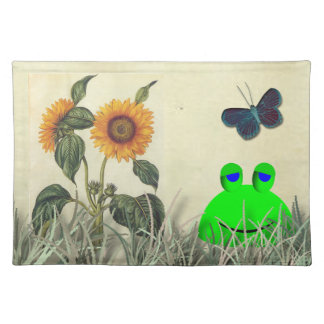 Frog Sunflower and Butterfly Cloth Placemat
