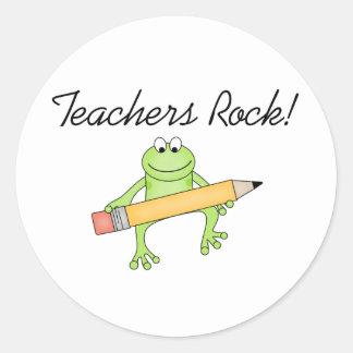 Frog Teachers Rock Classic Round Sticker