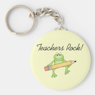 Frog Teachers Rock Tshirts and Gfits Basic Round Button Keychain