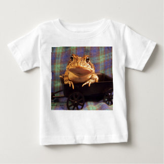 Frog Toad in black wagon with plaid background Baby T-Shirt