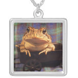 Frog Toad in black wagon with plaid background Necklace