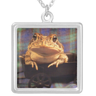 Frog Toad in black wagon with plaid background Silver Plated Necklace