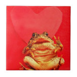 Frog Toad in front of red heart photo Ceramic Tile