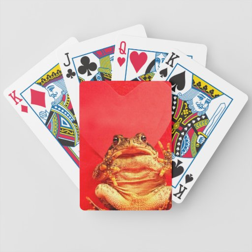 Frog Toad in front of red heart photo Playing Cards