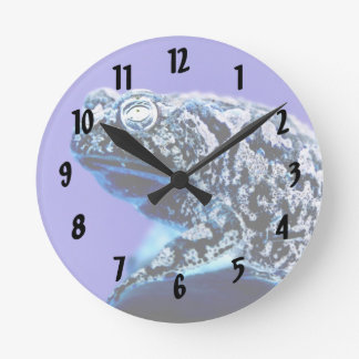 Frog toad  photo inverted blue black round clock