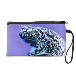 Frog toad  photo inverted blue black wristlet purse