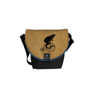 Frog Toad Riding Vintage Bicycle Messenger Bag