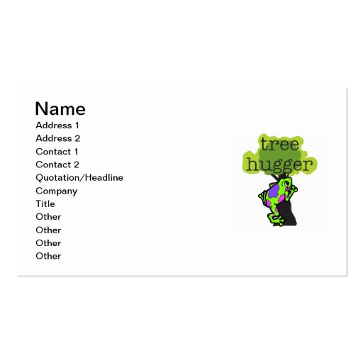 Frog Tree Hugger T-shirts and Gifts Double-Sided Standard Business Cards (Pack Of 100)